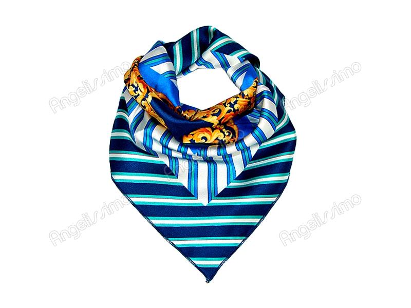Платок шейный синего цвета с золотым рисунком в центре