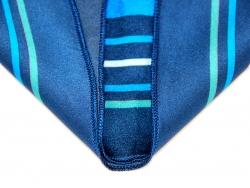 Платок шейный синего цвета в горошек с золотым рисунком в центре