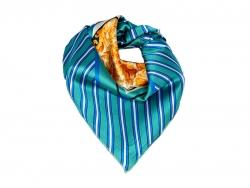 Платок шейный светло-синего цвета в полоску с золотым рисунком в центре